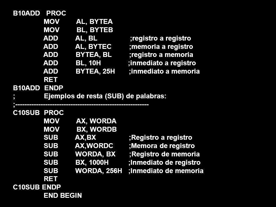 B10ADD PROC MOV AL, BYTEA MOV BL, BYTEB ADD AL, BL ;registro a registro ADD AL, BYTEC ;memoria a registro ADD BYTEA, BL ;registro a memoria ADD BL, 10H ;inmediato a registro ADD BYTEA, 25H ;inmediato a memoria RET B10ADD ENDP ; Ejemplos de resta (SUB) de palabras: ;---------------------------------------------------------- C10SUB PROC MOV AX, WORDA MOV BX, WORDB SUB AX,BX ;Registro a registro SUB AX,WORDC ;Memora de registro SUB WORDA, BX ;Registro de memoria SUB BX, 1000H ;Inmediato de registro SUB WORDA, 256H ;Inmediato de memoria RET C10SUB ENDP END BEGIN