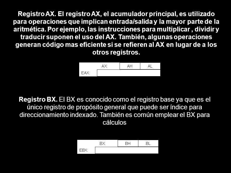 Registro AX. El registro AX, el acumulador principal, es utilizado para operaciones que implican entrada/salida y la mayor parte de la aritmética. Por ejemplo, las instrucciones para multiplicar , dividir y traducir suponen el uso del AX. También, algunas operaciones generan código mas eficiente si se refieren al AX en lugar de a los otros registros.