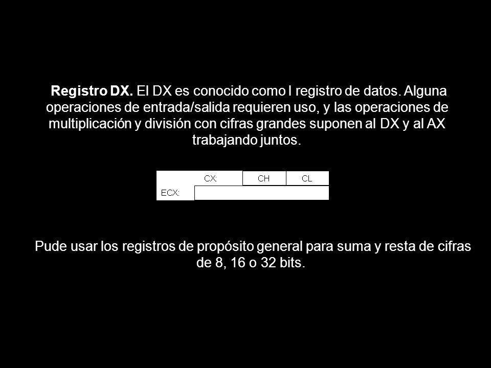 Registro DX. El DX es conocido como l registro de datos