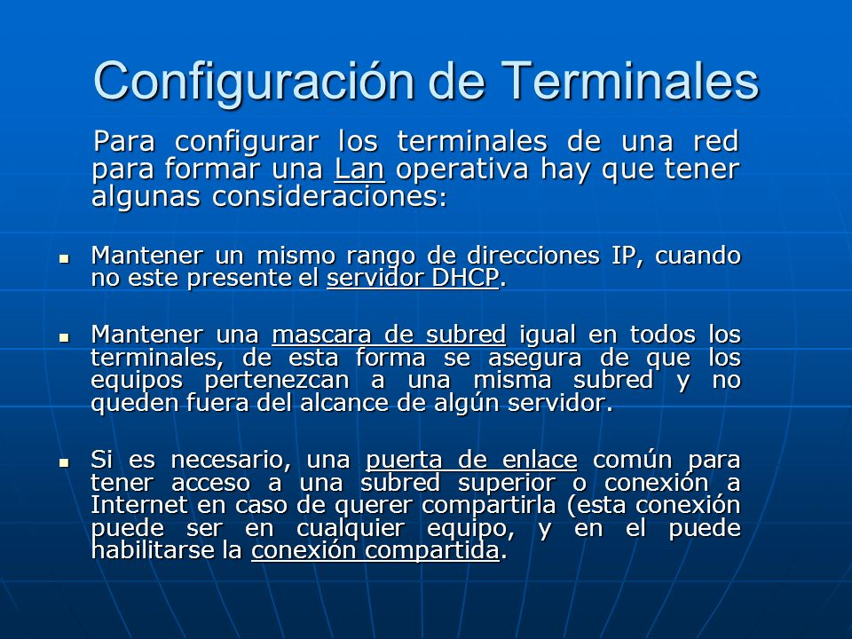 Configuración de Terminales