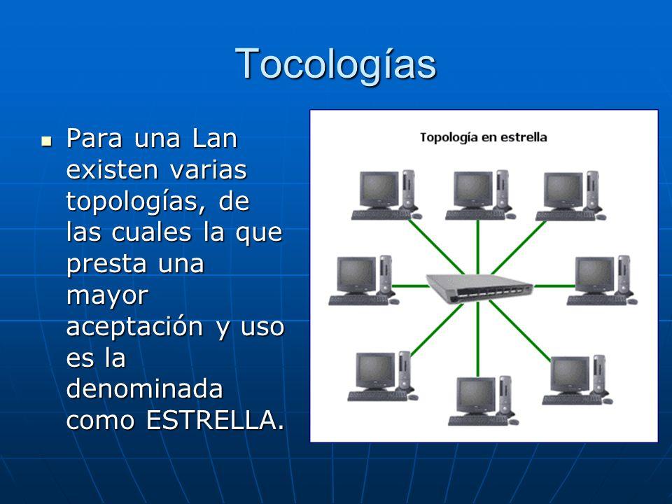 Tocologías Para una Lan existen varias topologías, de las cuales la que presta una mayor aceptación y uso es la denominada como ESTRELLA.
