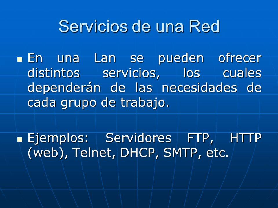 Servicios de una Red En una Lan se pueden ofrecer distintos servicios, los cuales dependerán de las necesidades de cada grupo de trabajo.