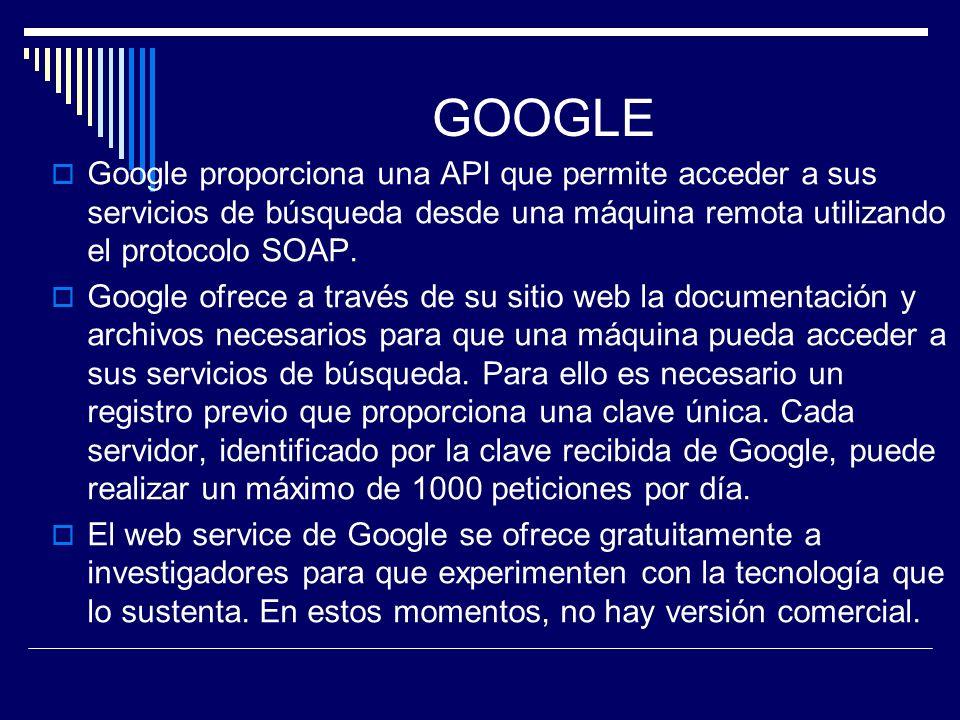 GOOGLE Google proporciona una API que permite acceder a sus servicios de búsqueda desde una máquina remota utilizando el protocolo SOAP.