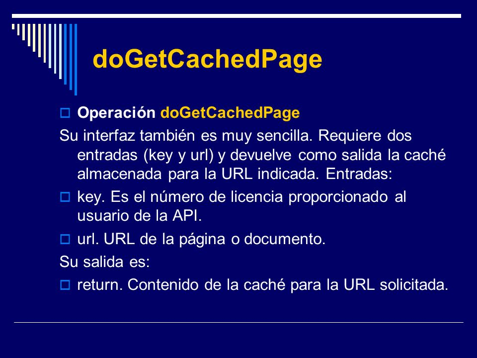 doGetCachedPage Operación doGetCachedPage