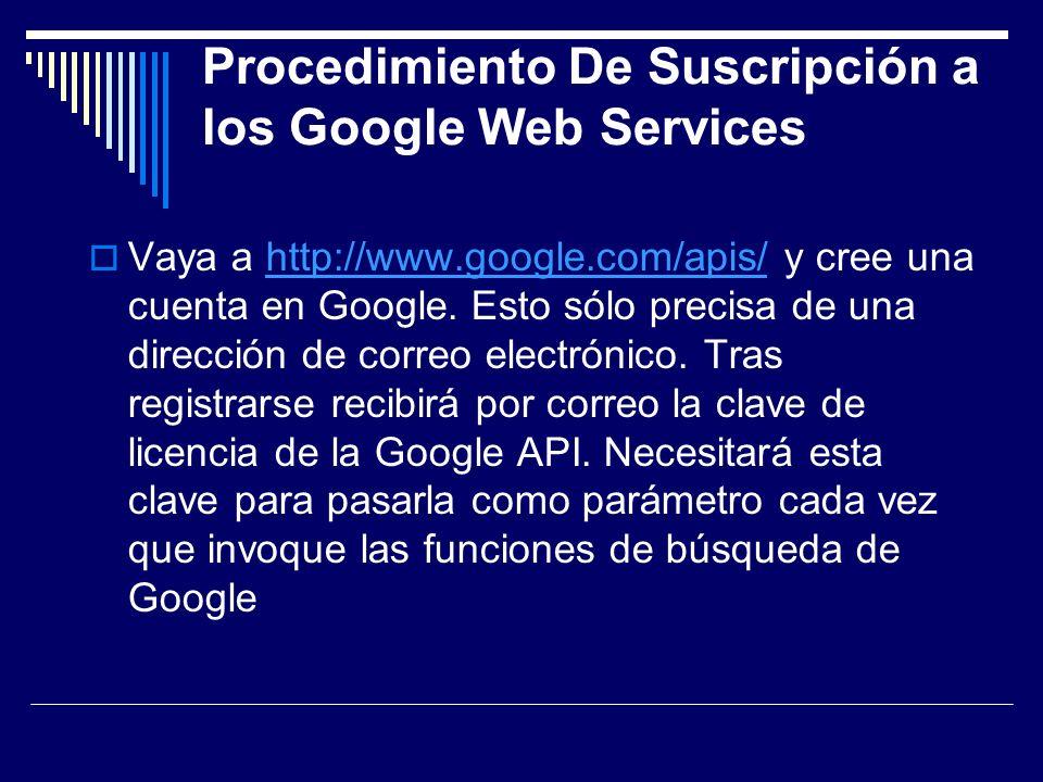 Procedimiento De Suscripción a los Google Web Services