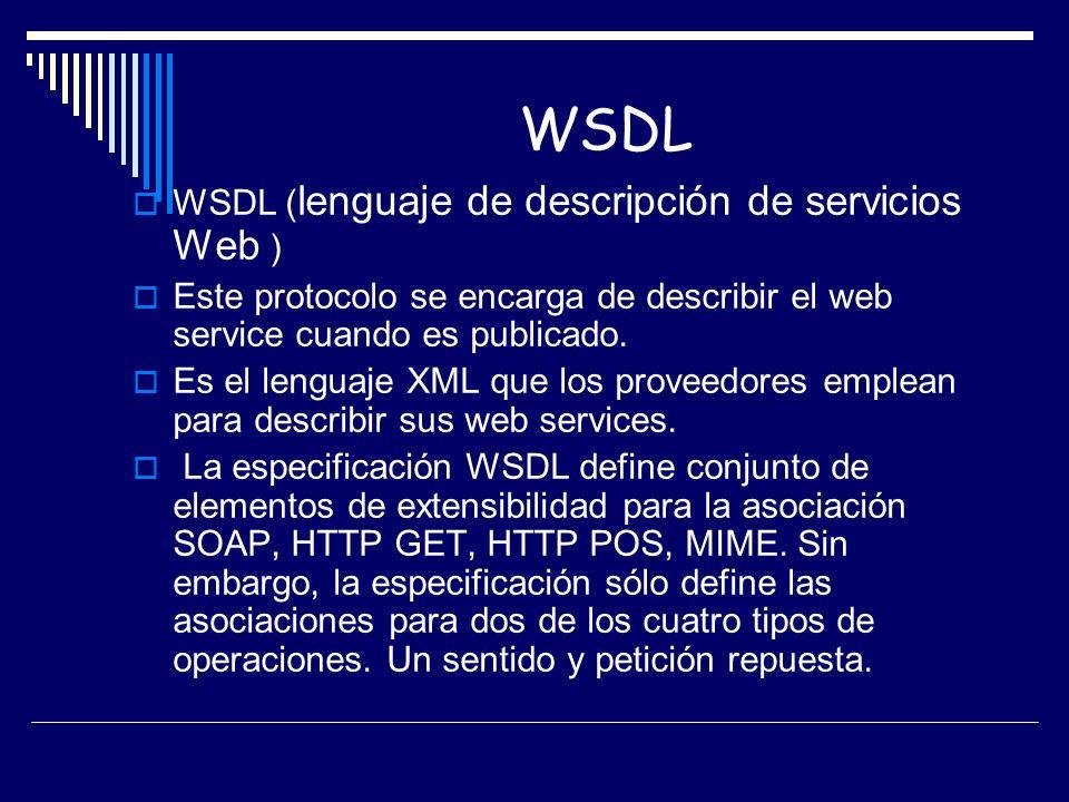 WSDL WSDL (lenguaje de descripción de servicios Web )