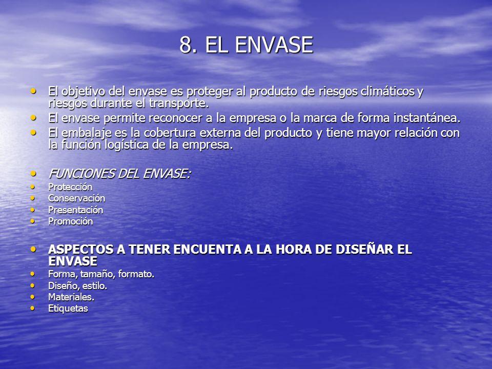 8. EL ENVASE El objetivo del envase es proteger al producto de riesgos climáticos y riesgos durante el transporte.
