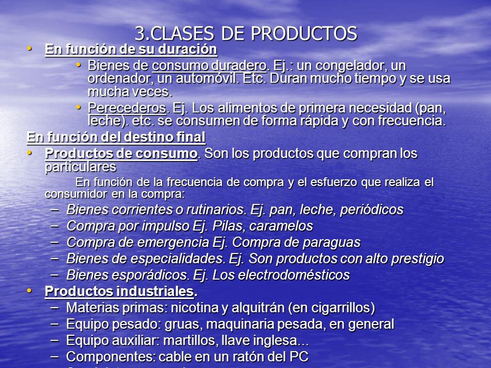 3.CLASES DE PRODUCTOS En función de su duración