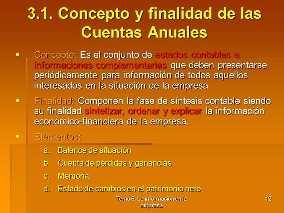 3.1. Concepto y finalidad de las Cuentas Anuales