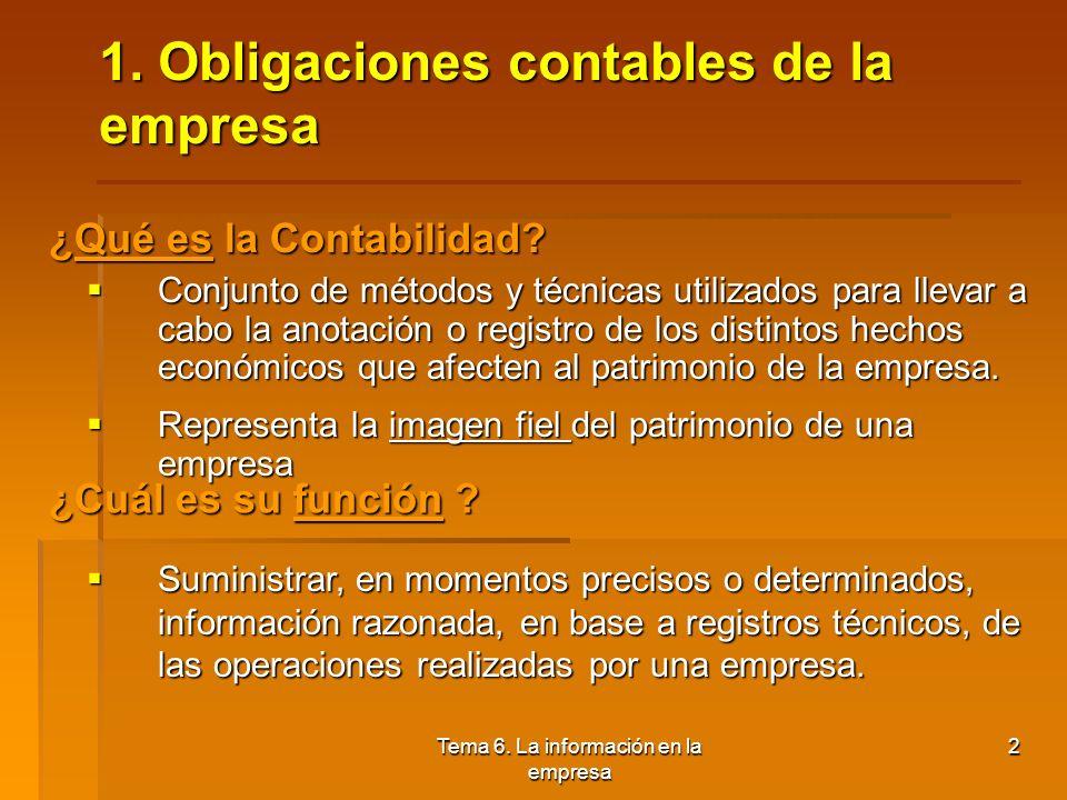 1. Obligaciones contables de la empresa