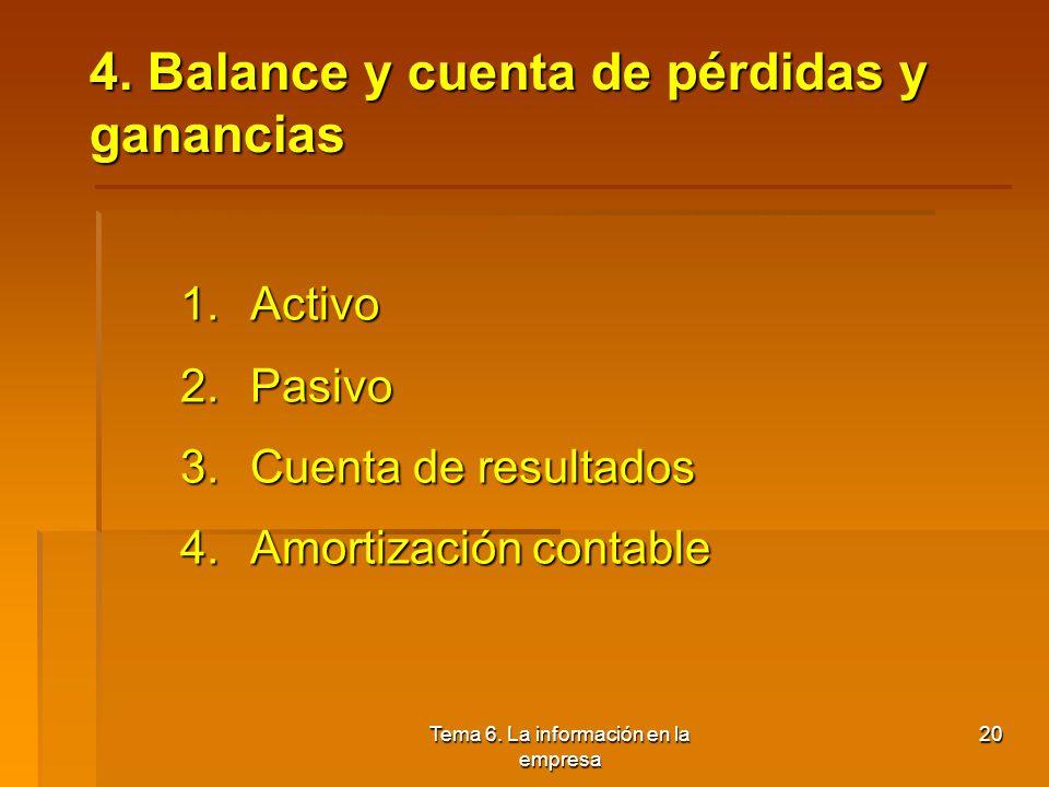 4. Balance y cuenta de pérdidas y ganancias