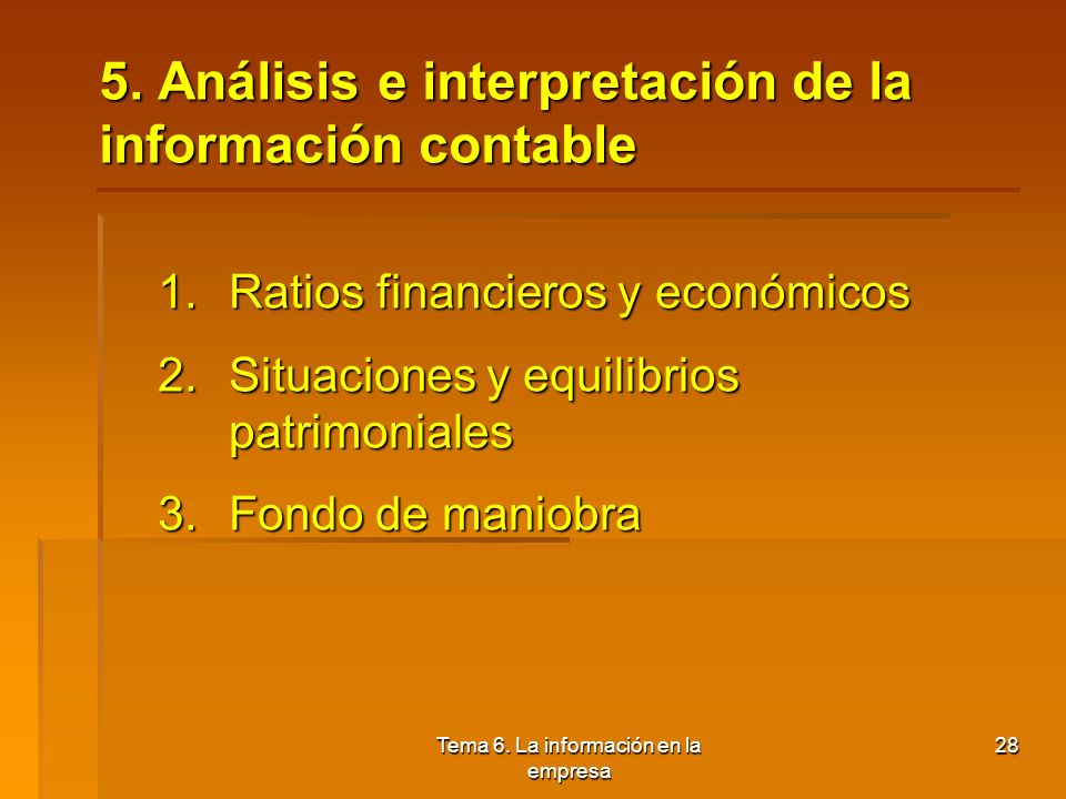 5. Análisis e interpretación de la información contable