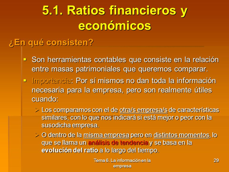 5.1. Ratios financieros y económicos
