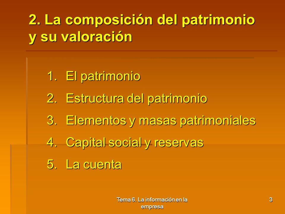 2. La composición del patrimonio y su valoración