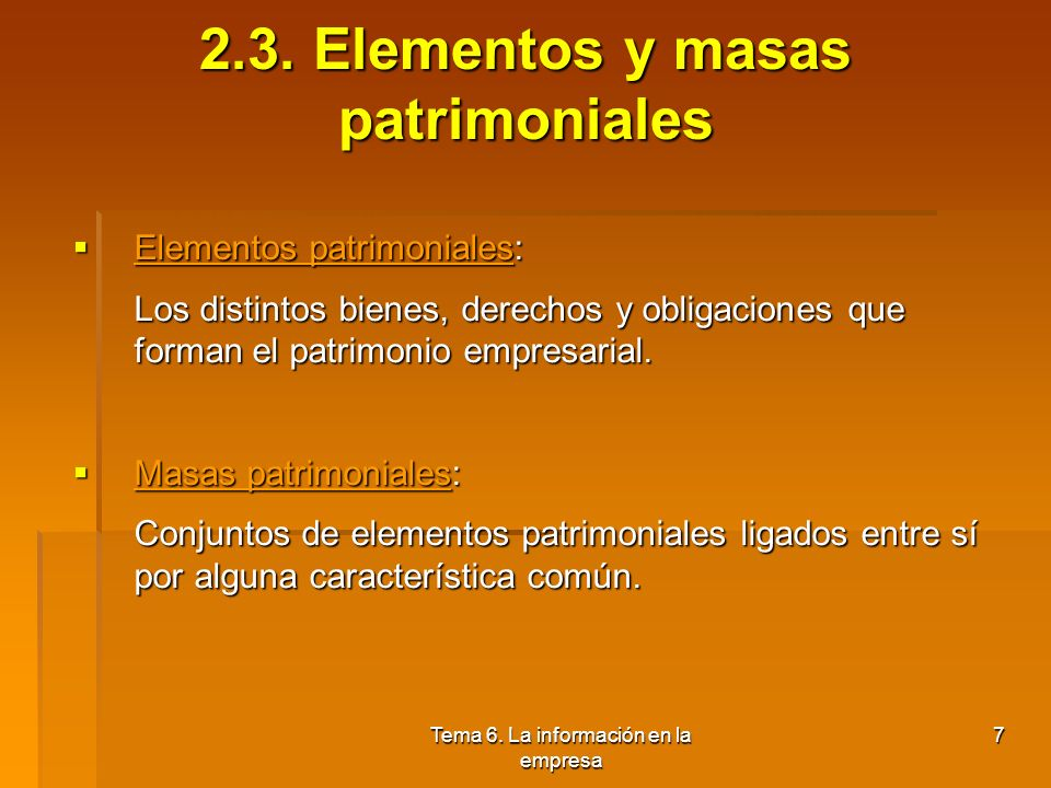 2.3. Elementos y masas patrimoniales