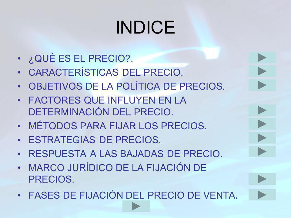 INDICE ¿QUÉ ES EL PRECIO . CARACTERÍSTICAS DEL PRECIO.