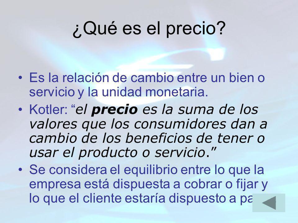 ¿Qué es el precio Es la relación de cambio entre un bien o servicio y la unidad monetaria.