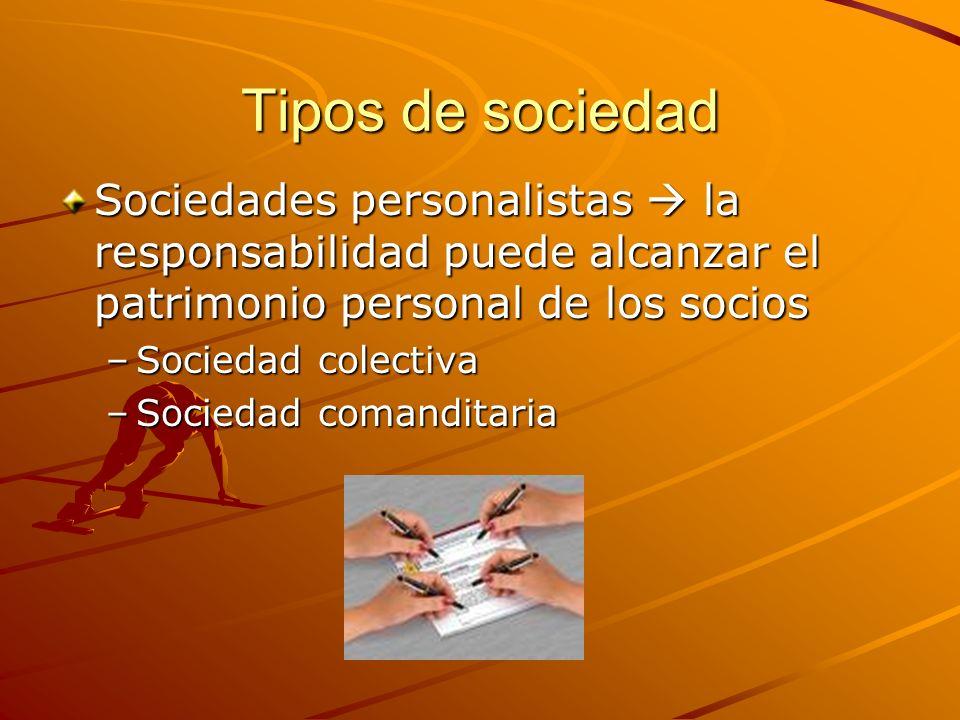 Tipos de sociedad Sociedades personalistas  la responsabilidad puede alcanzar el patrimonio personal de los socios.