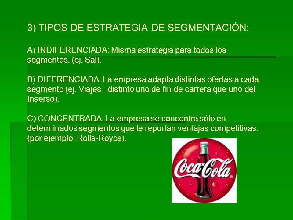 3) TIPOS DE ESTRATEGIA DE SEGMENTACIÓN: A) INDIFERENCIADA: Misma estrategia para todos los segmentos.