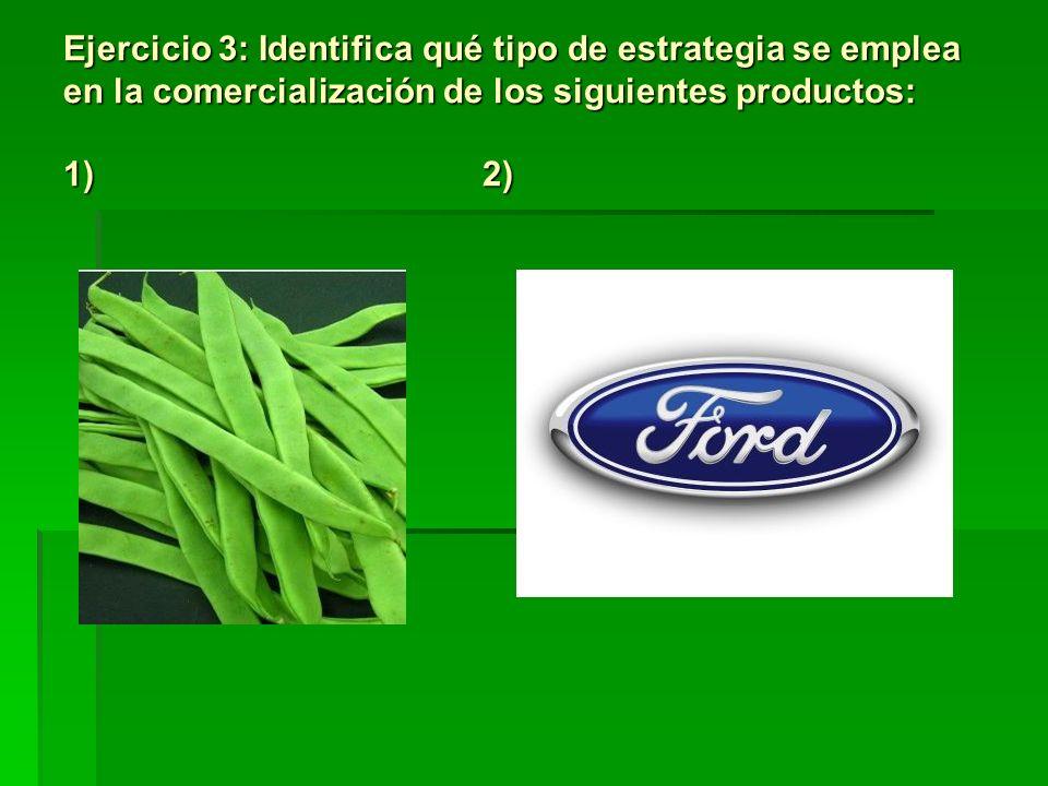 Ejercicio 3: Identifica qué tipo de estrategia se emplea en la comercialización de los siguientes productos: 1) 2)