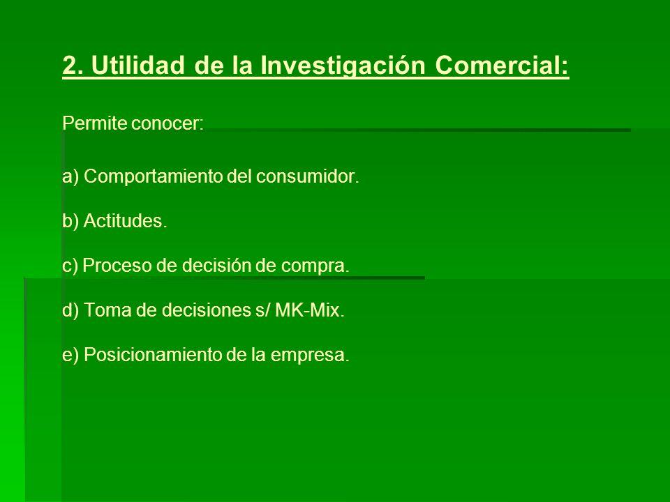 2. Utilidad de la Investigación Comercial: Permite conocer: a) Comportamiento del consumidor.
