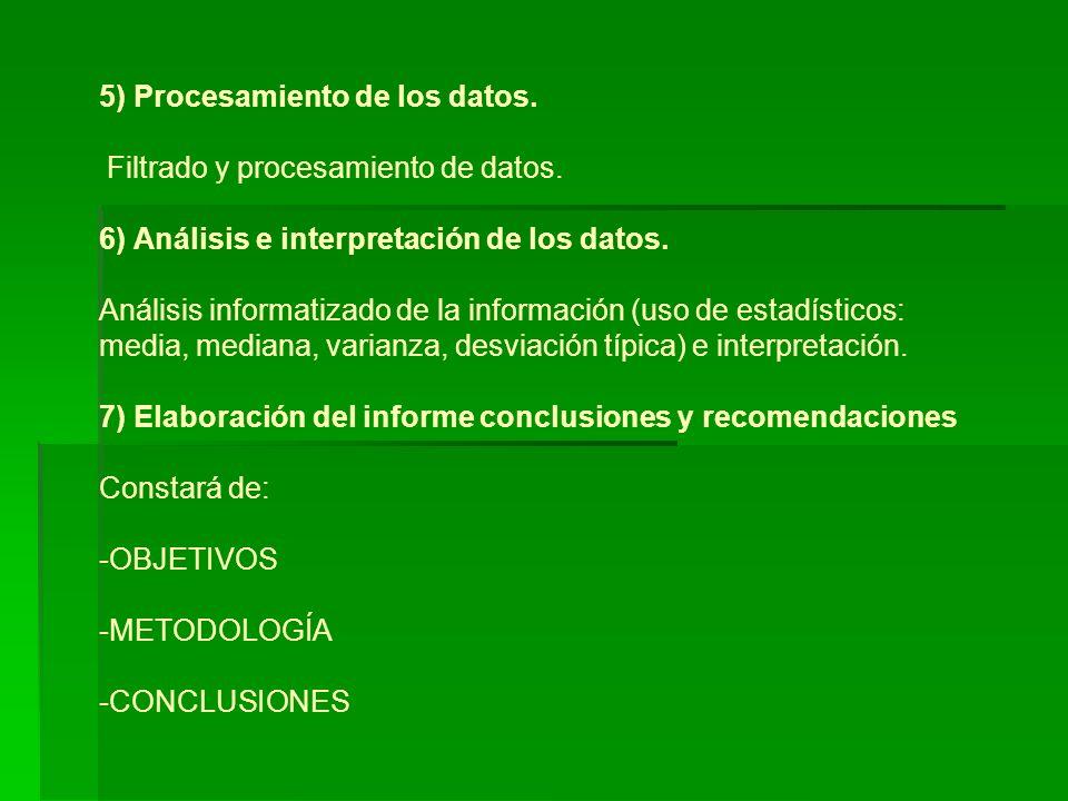 5) Procesamiento de los datos. Filtrado y procesamiento de datos