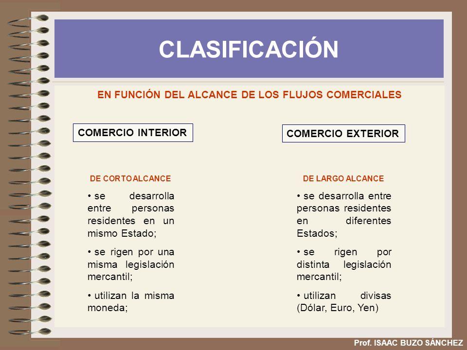 EN FUNCIÓN DEL ALCANCE DE LOS FLUJOS COMERCIALES