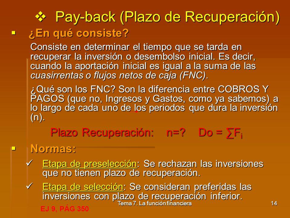 Pay-back (Plazo de Recuperación)