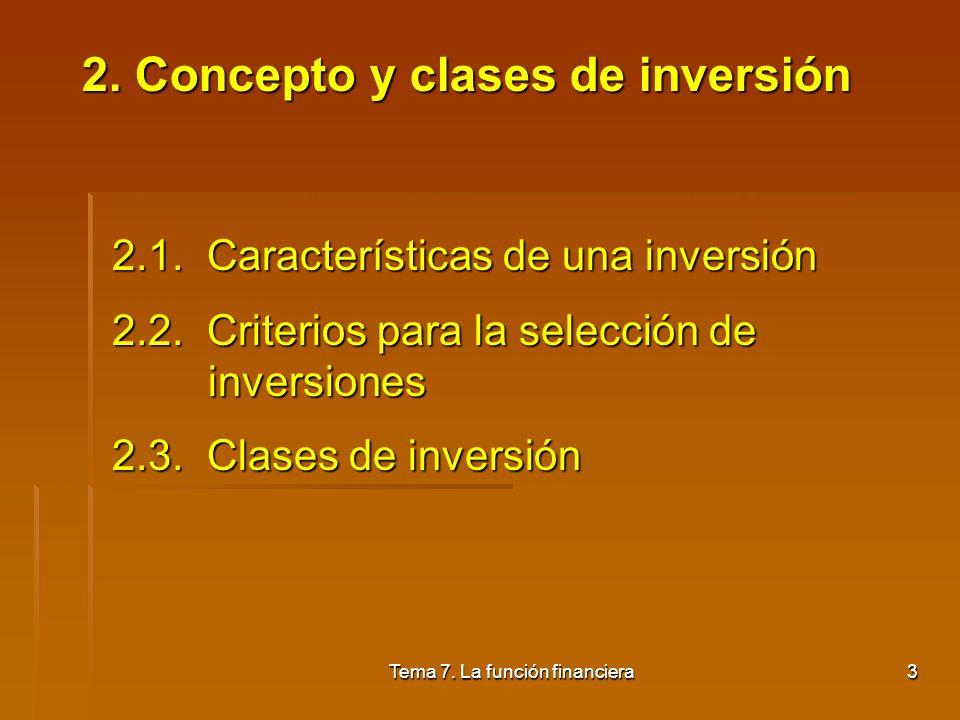 2. Concepto y clases de inversión
