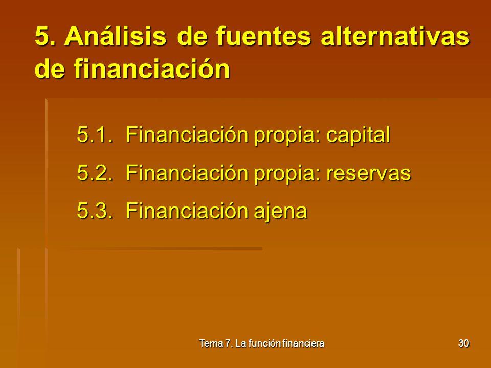 5. Análisis de fuentes alternativas de financiación