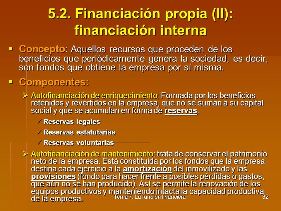 5.2. Financiación propia (II): financiación interna