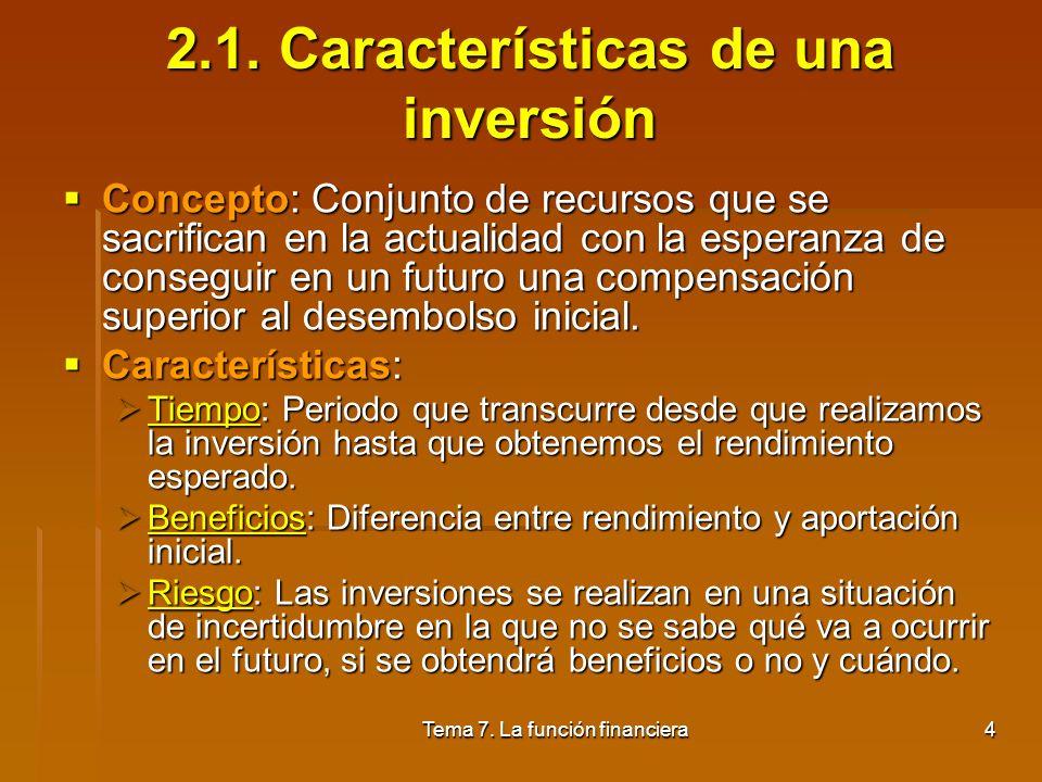 2.1. Características de una inversión