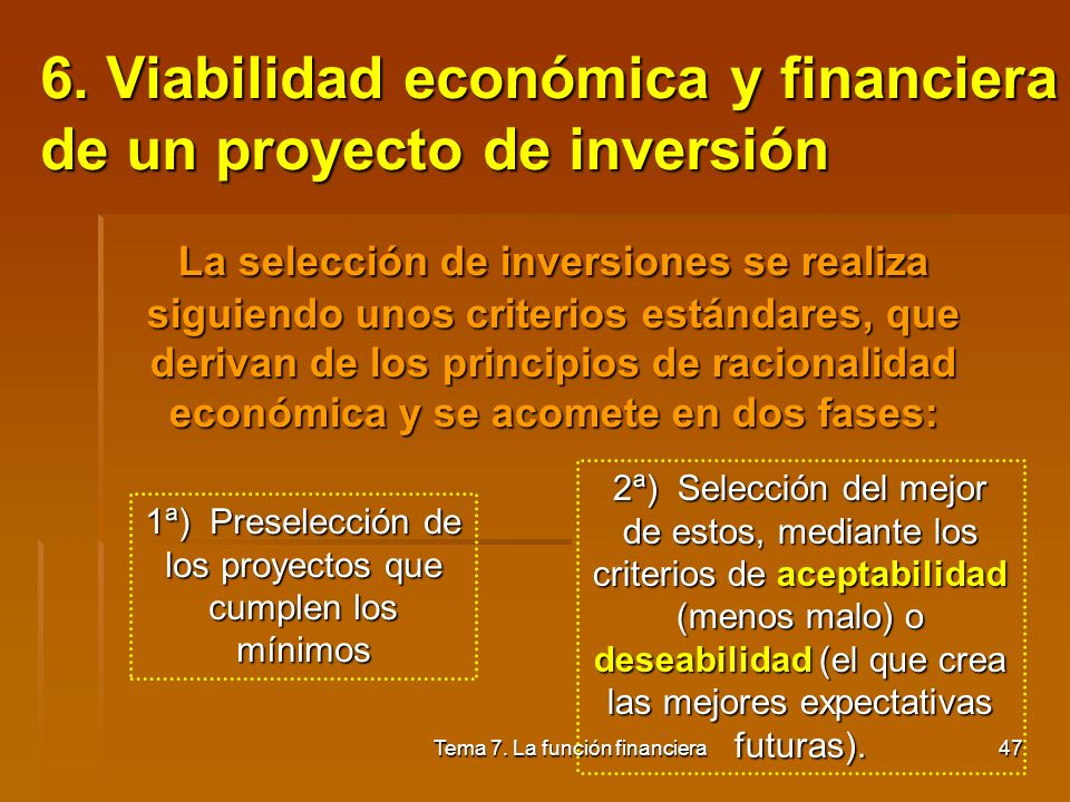 6. Viabilidad económica y financiera de un proyecto de inversión