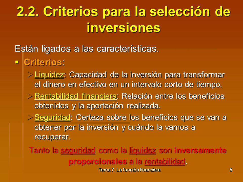 2.2. Criterios para la selección de inversiones