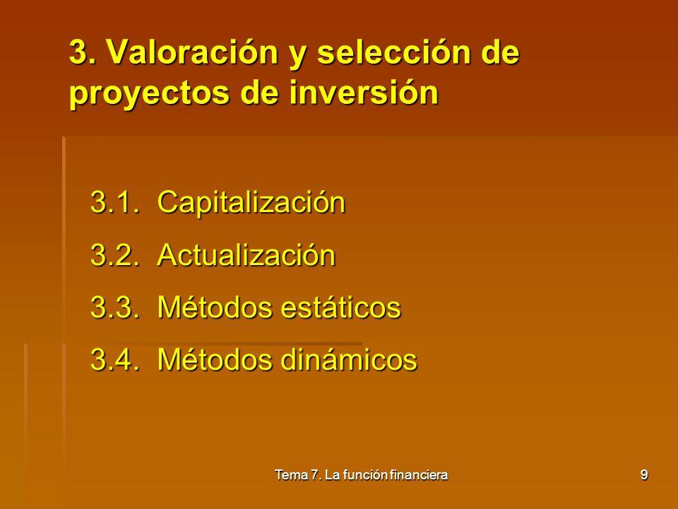 3. Valoración y selección de proyectos de inversión