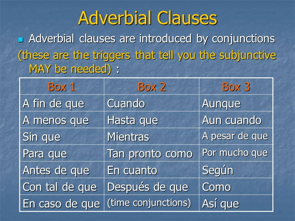 Adverbial Clauses Adverbial clauses are introduced by conjunctions