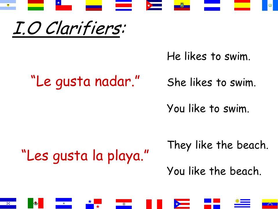 I.O Clarifiers: Le gusta nadar. Les gusta la playa.