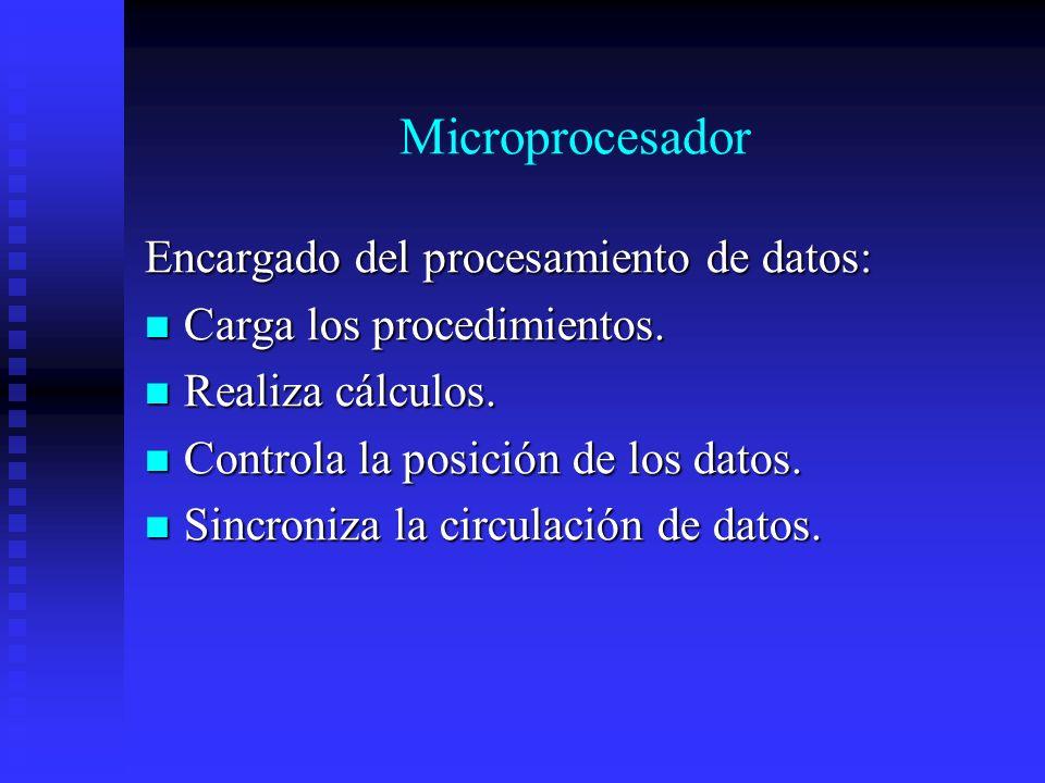 Microprocesador Encargado del procesamiento de datos: