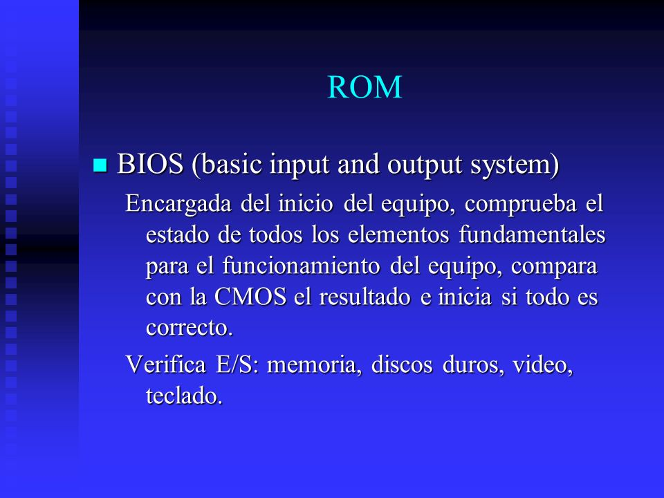 ROM BIOS (basic input and output system)