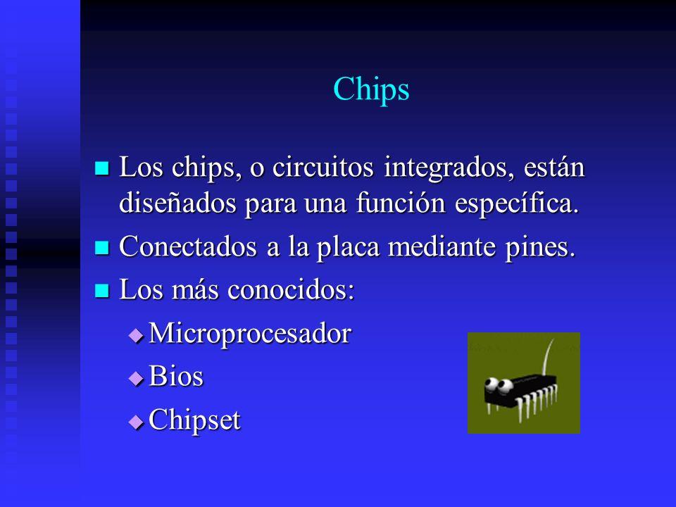 Chips Los chips, o circuitos integrados, están diseñados para una función específica. Conectados a la placa mediante pines.