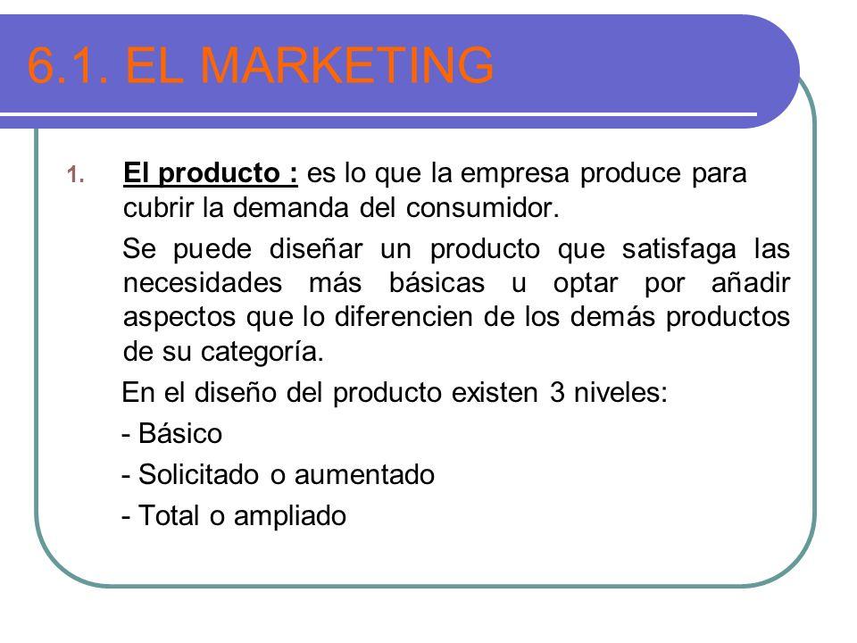 6.1. EL MARKETING El producto : es lo que la empresa produce para cubrir la demanda del consumidor.