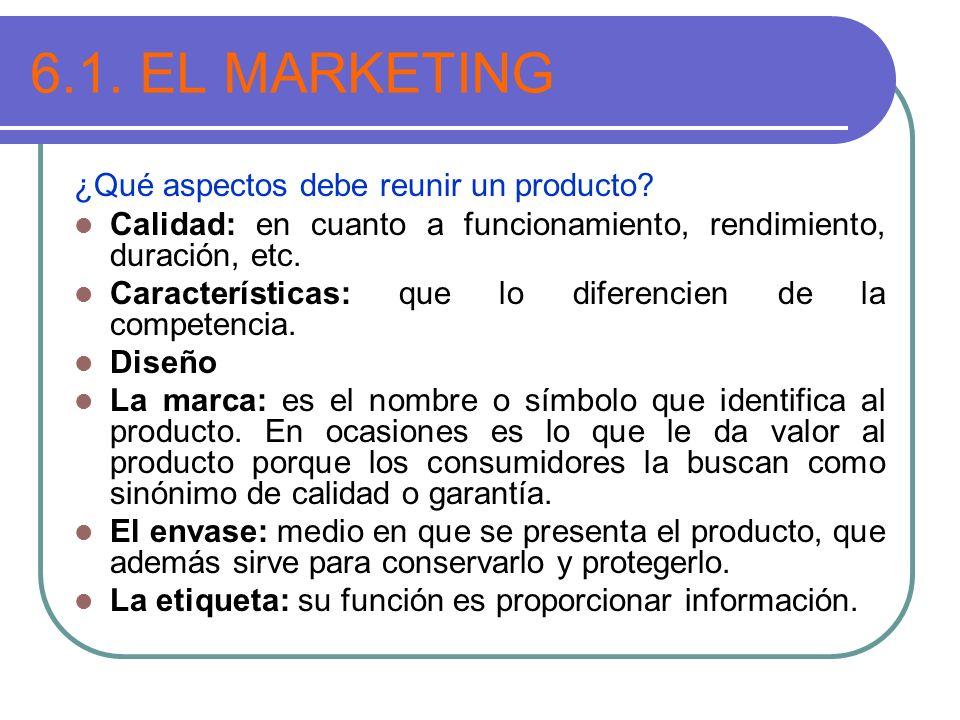 6.1. EL MARKETING ¿Qué aspectos debe reunir un producto