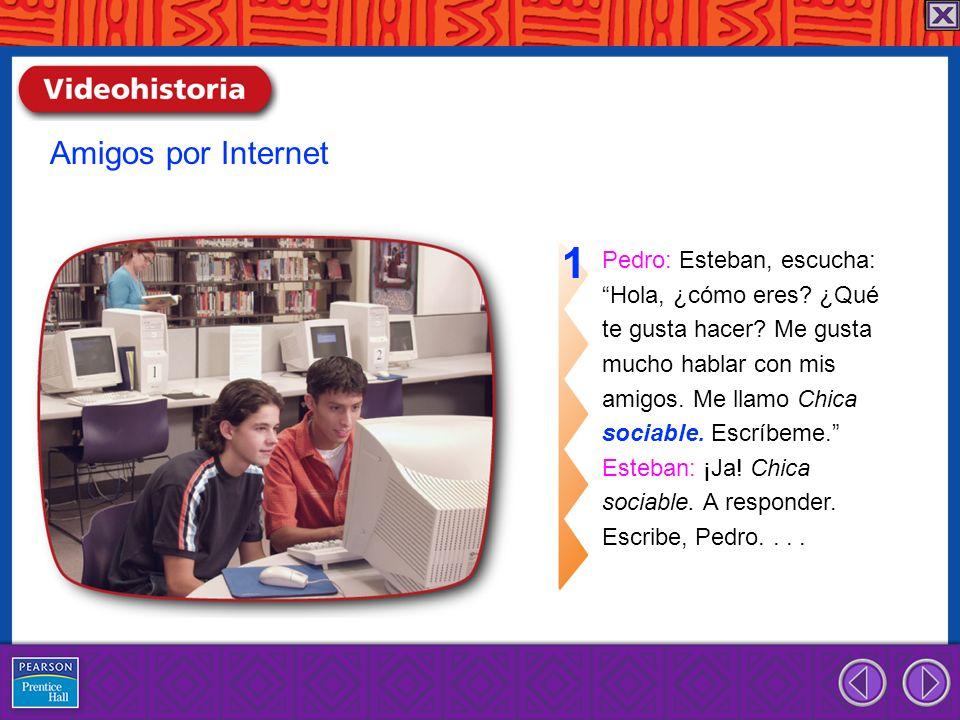 1 Amigos por Internet Pedro: Esteban, escucha: Hola, ¿cómo eres ¿Qué