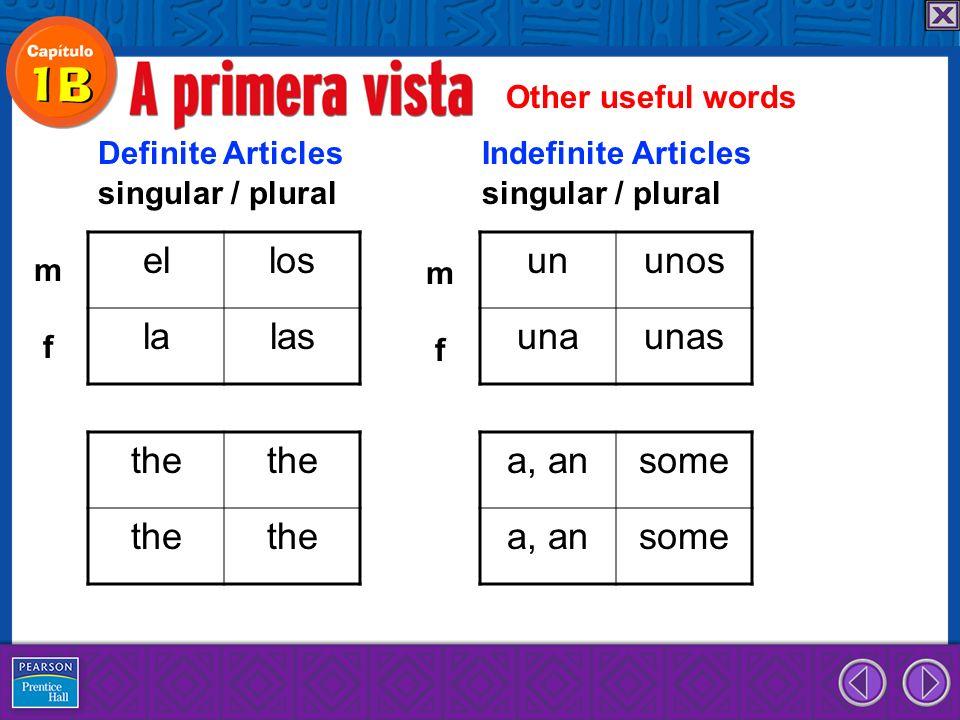 el los la las un unos una unas the a, an some Other useful words