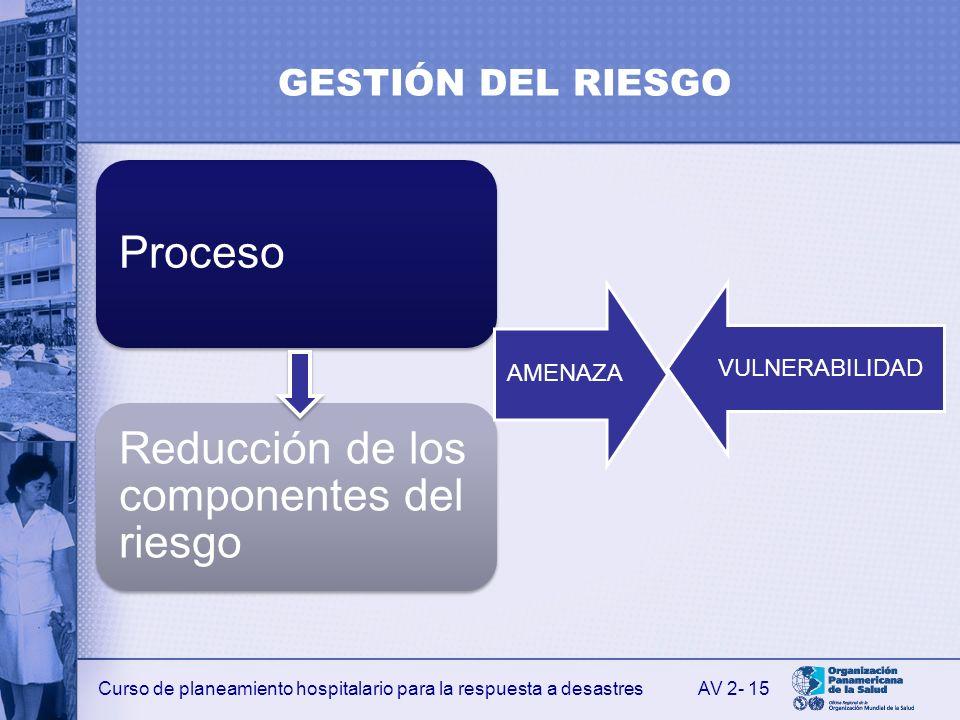 GESTIÓN DEL RIESGO VULNERABILIDAD AMENAZA AV 2- 15 Proceso