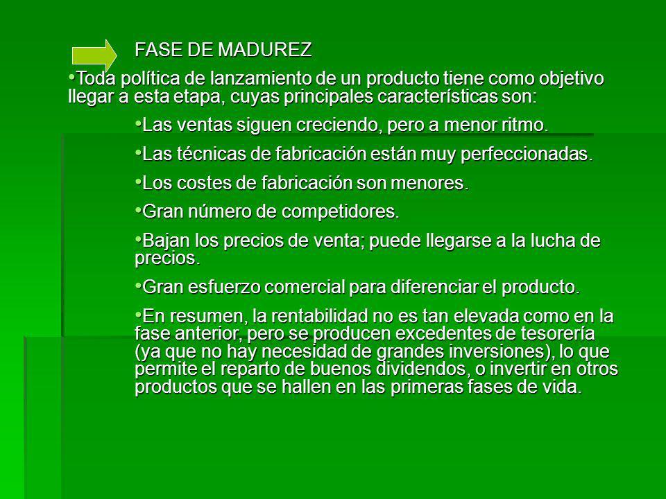 FASE DE MADUREZ Toda política de lanzamiento de un producto tiene como objetivo llegar a esta etapa, cuyas principales características son: