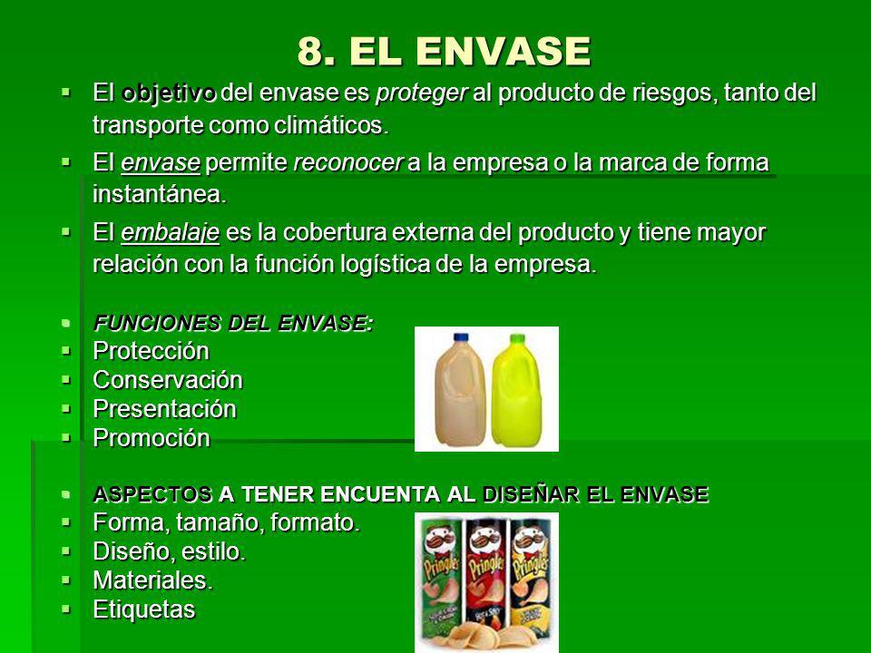 8. EL ENVASE El objetivo del envase es proteger al producto de riesgos, tanto del transporte como climáticos.