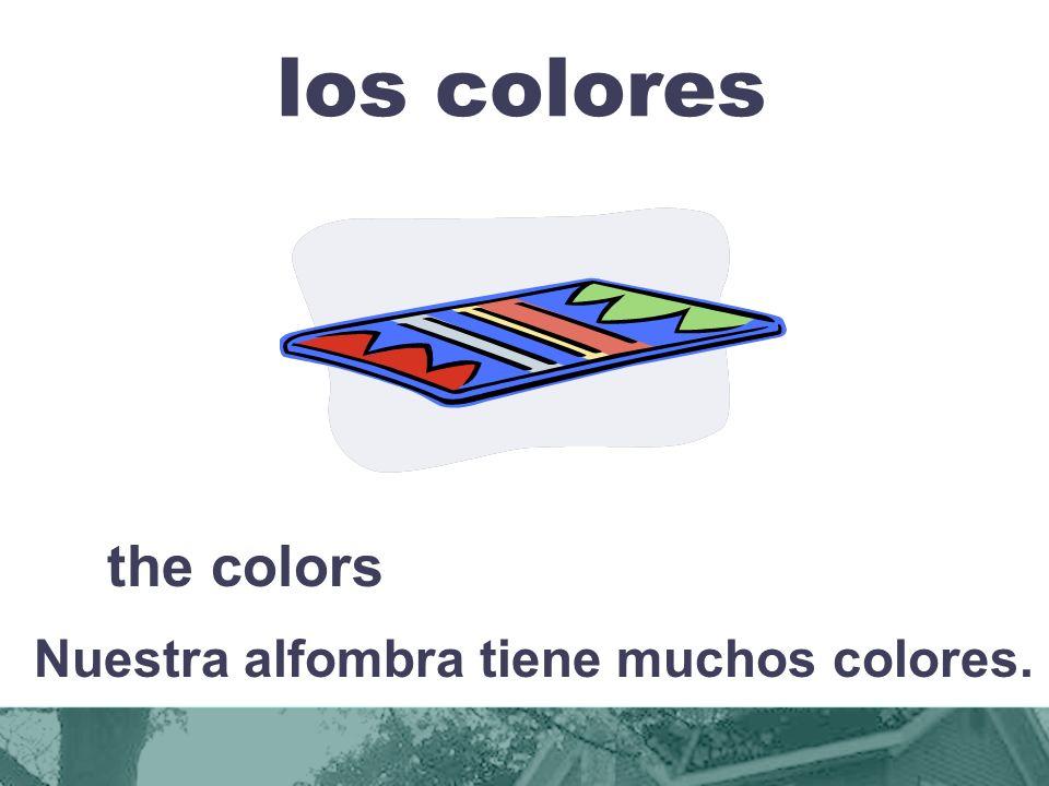 Nuestra alfombra tiene muchos colores.