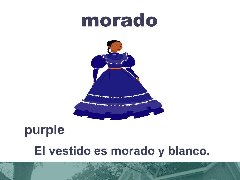El vestido es morado y blanco.