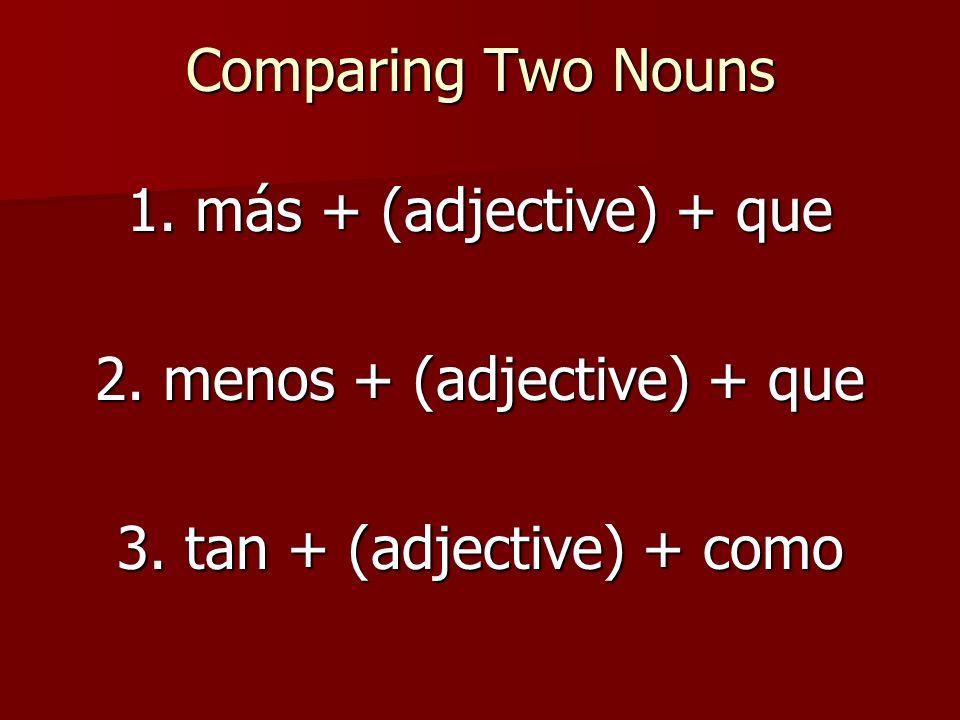 2. menos + (adjective) + que 3. tan + (adjective) + como